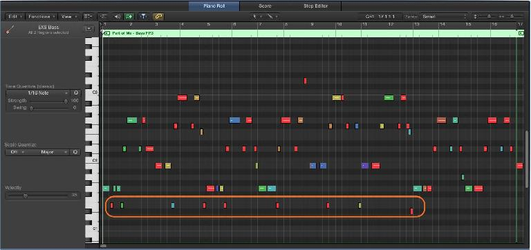 Fig 3 Stray notes, visible and ready to be removed in the Piano Roll Editor