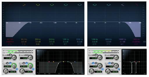 Filters: Top: High-Pass (L), Low-Pass (R); Bottom: Bandpass (L), Notch (R).