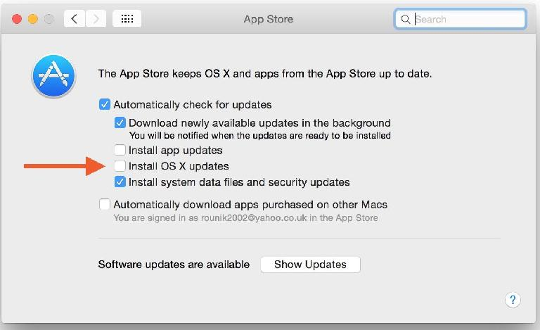 disable auto-update in OS X