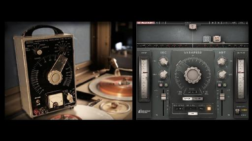 (L) A varispeed controller (one of the key elements of the Abbey Road ADT effect); (R) the Reel ADT plug-in.