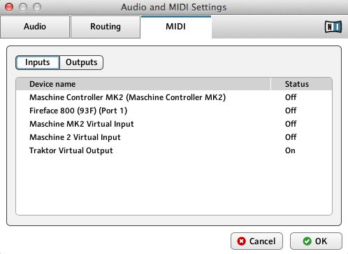 Maschine audio midi settings