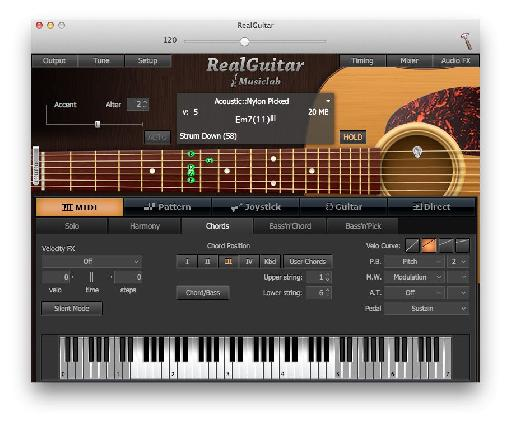 Play convincing guitar chords from your MIDI keyboard, with intelligent mapping.