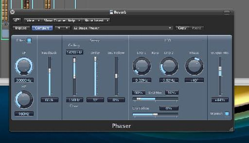 Logic's phaser adding some intense modulation to the reverb buss