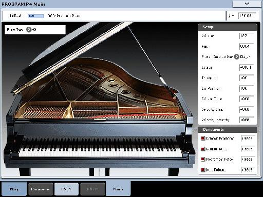 View of an SGX-1 piano program as seen on the built-in touch screen