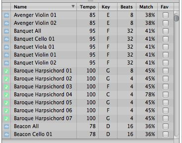 Green and blue loops in Logic Pro.