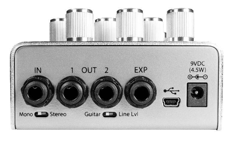 The rear panel of Eventide's new UltraTap pedal.