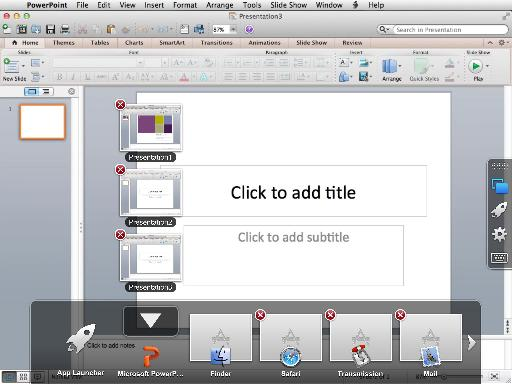 There's a clever stack system used to let you flip between open documents and apps.