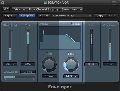 The Logic Enveloper Release Parameters.
