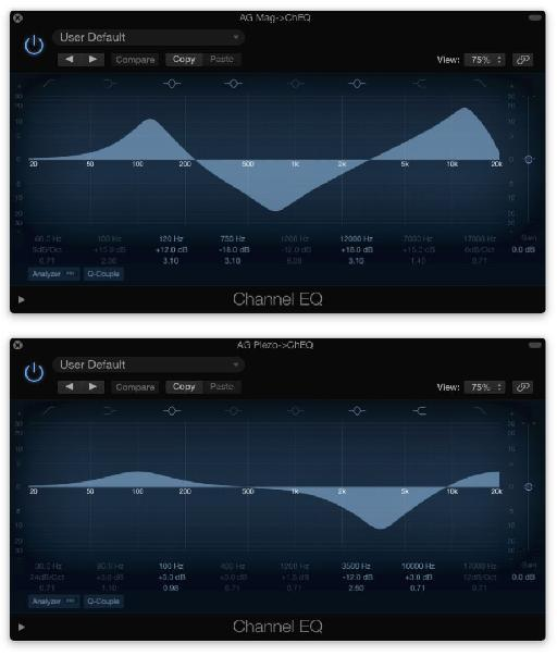 Fig 4 Typical EQ settings for DI'd acoustic guitar: Mag PU (Top); Piezo PU (Bottom).