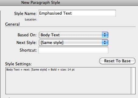 Text options change