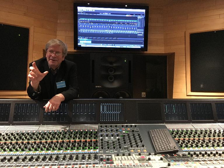 George Massenburg explains details of the drum recording process in the Neve 88D control room.