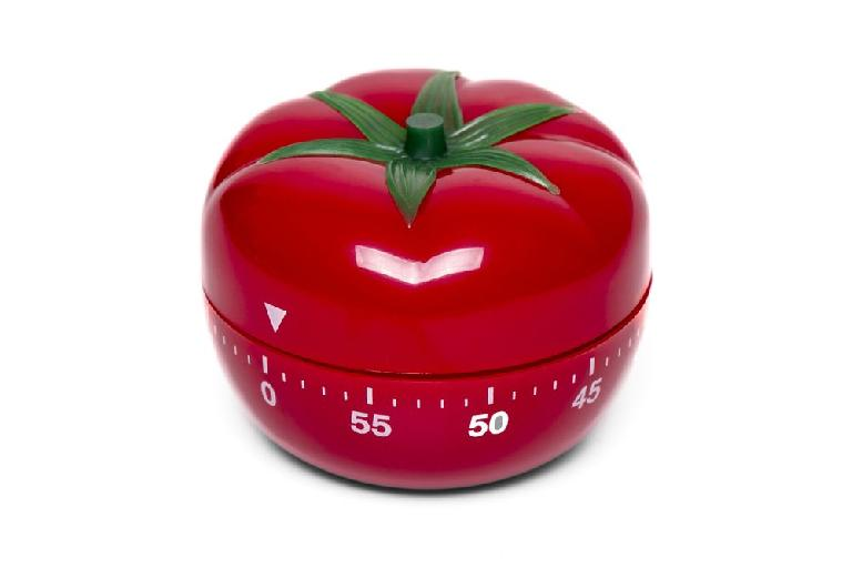 Pomodoro timers are available in hardware – or you could try one of the many Pomodoro apps available online.