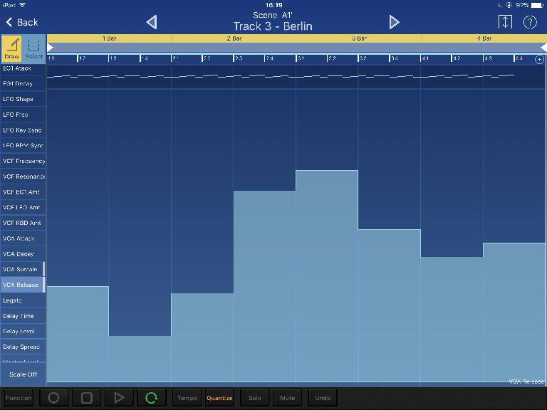Working with automation and CC data in the MIDI editor on iPad