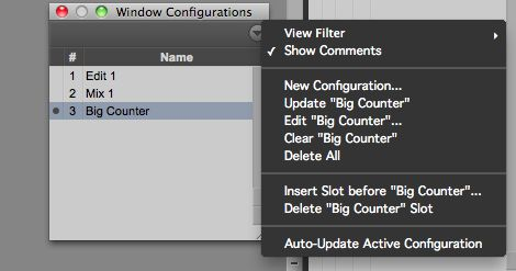 The Window Configuration List drop-down menu
