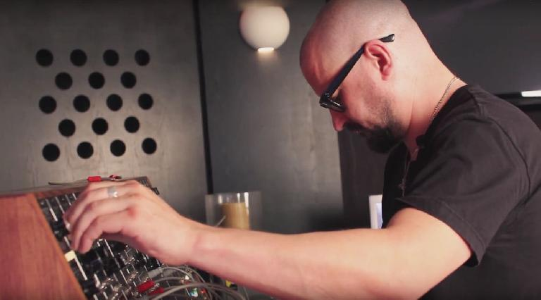 Clint Mansell using his Moog.