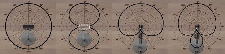 Various mic patterns (omni, bi, cardioids)