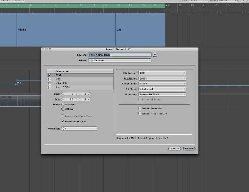 Exporting the track as usual