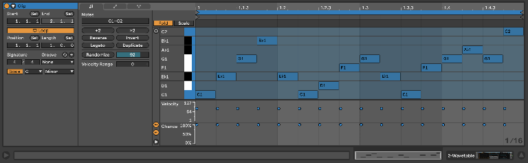 PIC 8: A rather stale 16th note bass line with no probability adjustments.