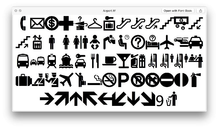 A whole heap of famous public domain symbols, together in a font at last.