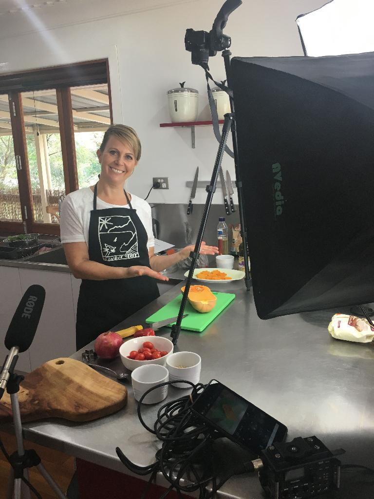 All set up and ready to shoot—this is Karen from Come and Cook.