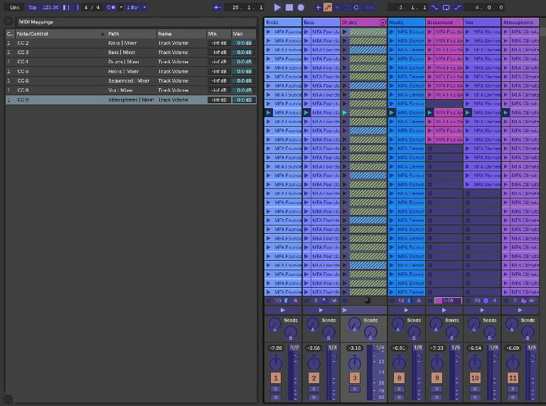 Restraining controller ranges in the MIDI control browser