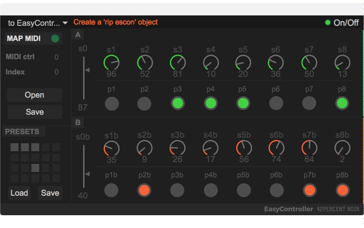 EasyController for Max interface.