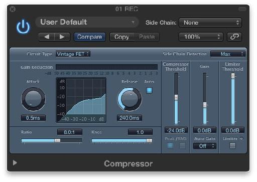 The Logic Compressor's Vintage FET Mode.