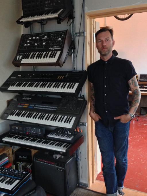 One stack of Liam's impressive collection of hardware synths he's currently using.