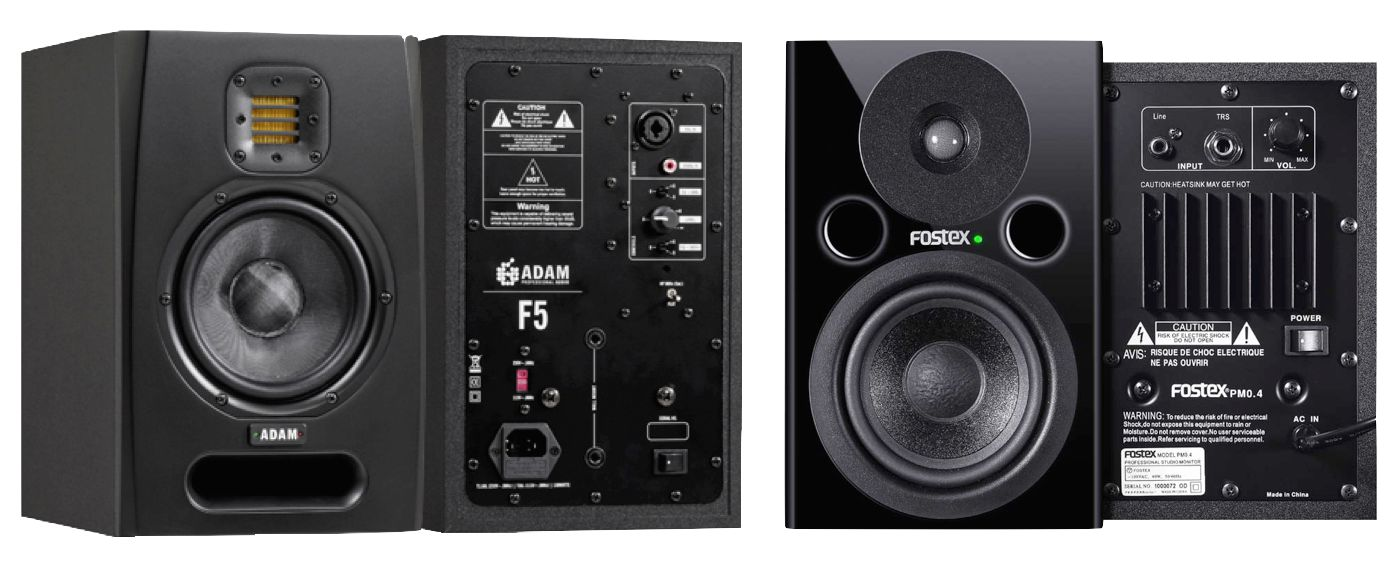 Active studio monitors: typical two-way, bi-amplified designs, front & back.