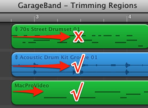 MIDI regions can be trimmed up to the point that notes exist.