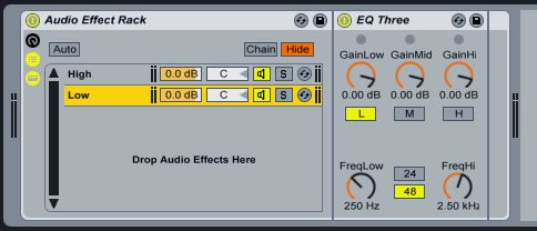 Pic 7: EQ 3 settings to isolate the low frequencies.