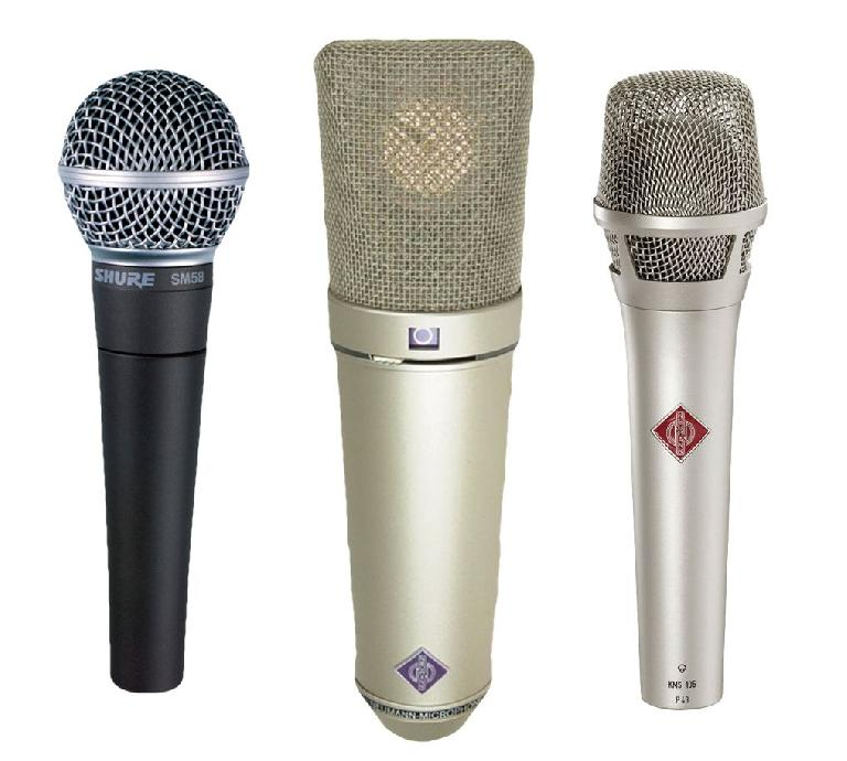 Fig 1 L-R: Shure SM58 (classic indestructible stage dynamic), Neumann U87 (delicate studio condenser); Neumann KMS-105 (hardy handheld stage condenser)