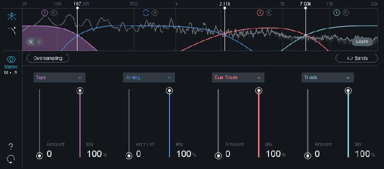 Exciter saturation settings.