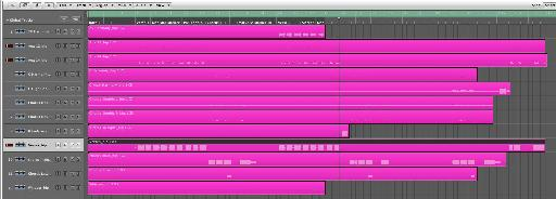 The vocals are moved together and color coded.