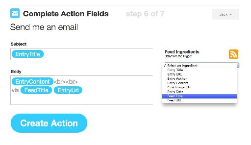 It is useful to add the Feed title to the email Subject as will become clear in the next step.