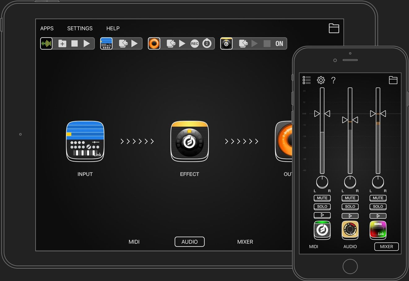 AudioBus 3 support iPhone and iPad.