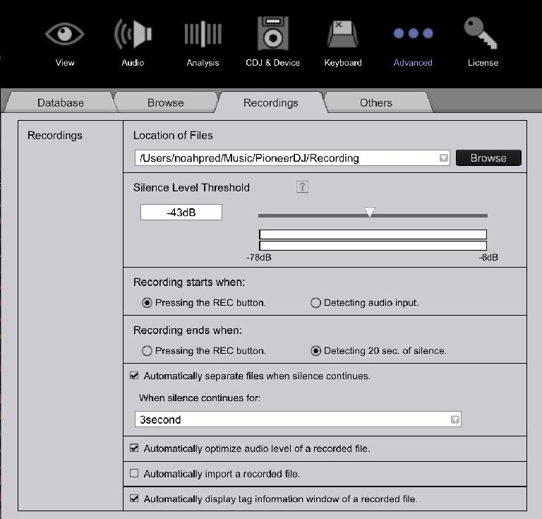 Rekordbox recording preferences