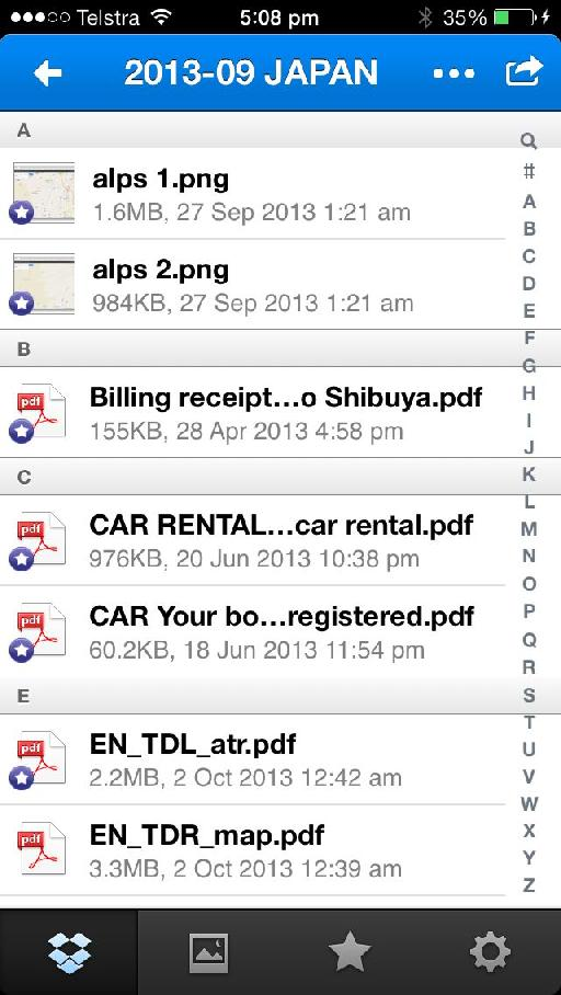 Here's the Dropbox iOS app, with a number of documents starred (saved locally to the device).