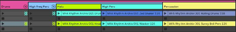 """Multiple sub-groups and a """"sub-scene"""": the Percussion track is part of the Drums group, but only Hats and High Perc are in the sub-group High Freq Perc, allowing different combinations of clips to be triggered simultaneously"""
