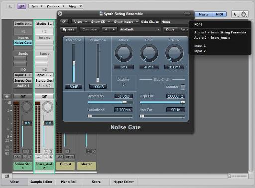 Select the percussion track as the side-chain input to the noise gate
