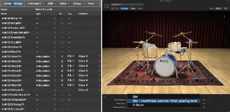 Logic's Drum Kit Designer plug-in layers hihat variations on the same key, controlled by CC#4