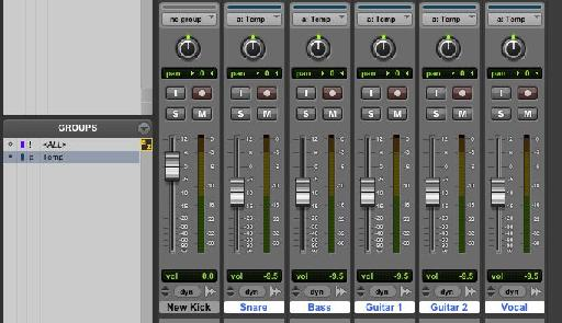 To move a bunch of faders together in Pro Tools you need to create a group - just select tracks and hit Command-G.