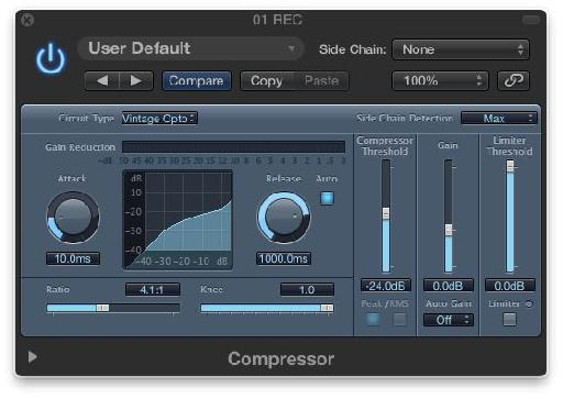 The Logic Compressor Vintage Opto Mode.