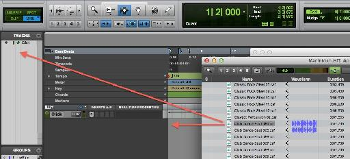 Drag the Apple loop file to create a new track in two different ways.