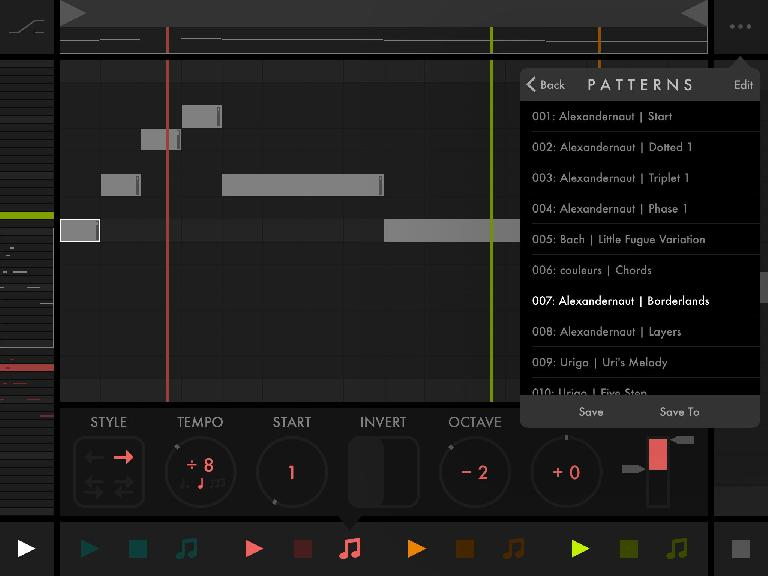 Load preset patterns and save your own.