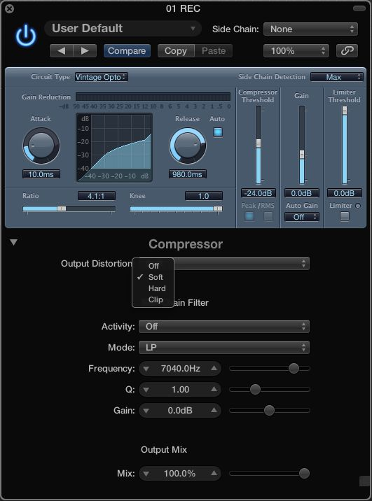 The Logic Compressor's Distortion options.
