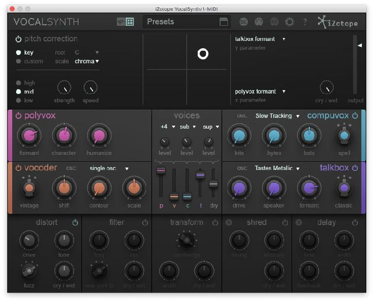 The XY Pad in iZotope's VocalSynth
