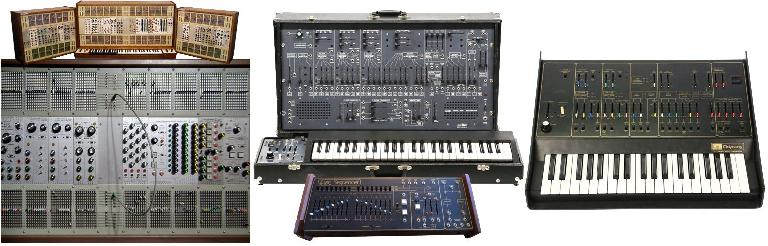 The ARP 2500 (L) & 2600 (w/ its companion sequencer) (C); the ARP Odyssey (R)