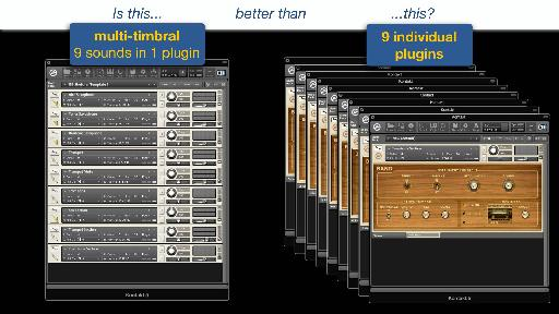 Creating multi-timbral, multi-output instances does not necessarily save a meaningful amount of CPU, and makes template design quite complicated.