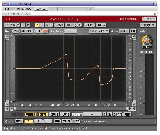 Voxengo's CurveEQ is one of the new bundled plug-ins, seen here running inside the new plug-in chain system.